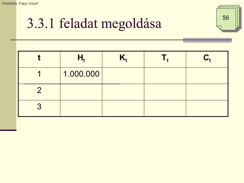 3.3.1 feladat megoldása tHtHt KtKt TtTt CtCt 11.000.000 2 3 Készítette: Papp József 56