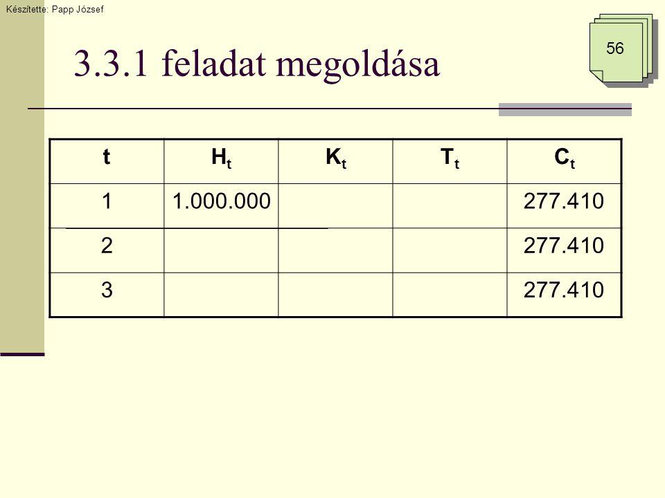 3.3.1 feladat megoldása tHtHt KtKt TtTt CtCt 11.000.000277.410 2 3 Készítette: Papp József 56