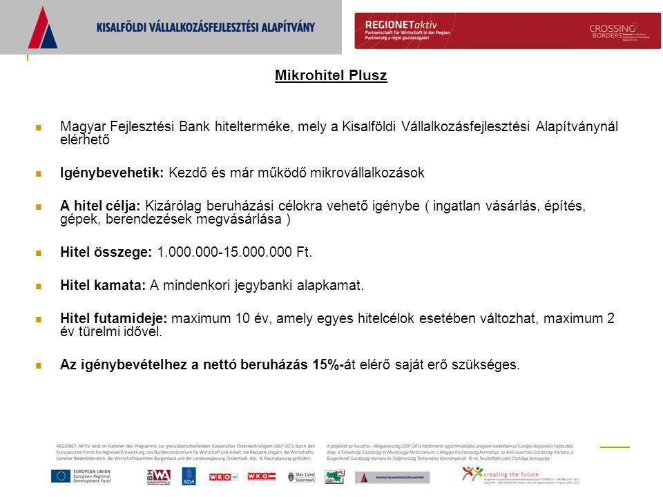 Mikrohitel Plusz  Magyar Fejlesztési Bank hitelterméke, mely a Kisalföldi Vállalkozásfejlesztési Alapítványnál elérhető  Igénybevehetik: Kezdő és má