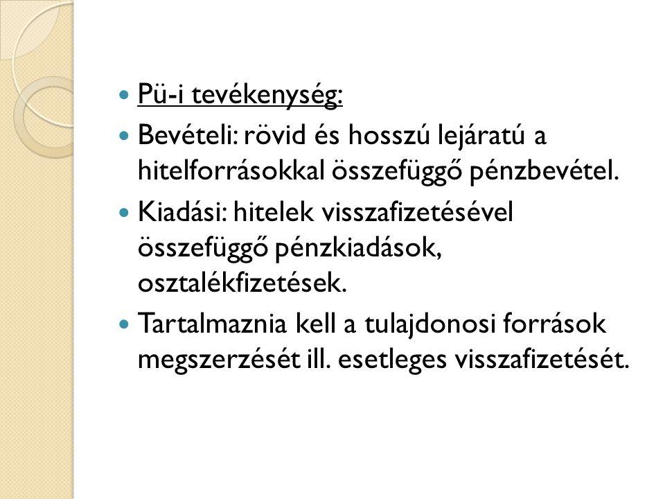  Pü-i tevékenység:  Bevételi: rövid és hosszú lejáratú a hitelforrásokkal összefüggő pénzbevétel.  Kiadási: hitelek visszafizetésével összefüggő pé