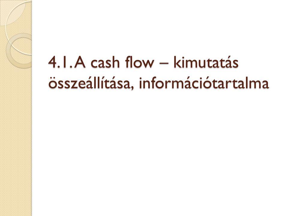  Cash flow kimutatás sémája: I.