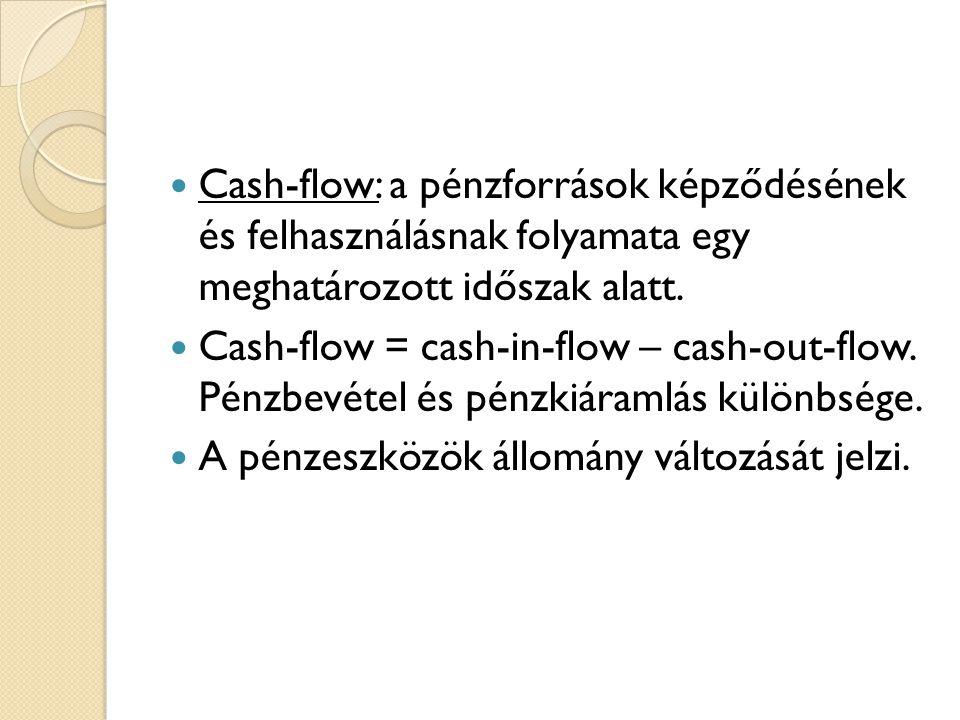  Cash-flow: a pénzforrások képződésének és felhasználásnak folyamata egy meghatározott időszak alatt.  Cash-flow = cash-in-flow – cash-out-flow. Pén