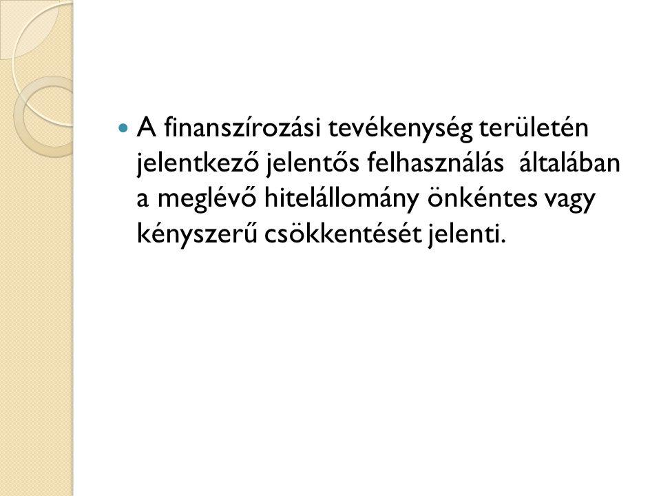  A finanszírozási tevékenység területén jelentkező jelentős felhasználás általában a meglévő hitelállomány önkéntes vagy kényszerű csökkentését jelen