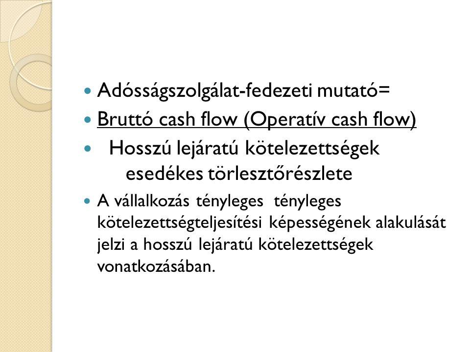  Adósságszolgálat-fedezeti mutató=  Bruttó cash flow (Operatív cash flow)  Hosszú lejáratú kötelezettségek esedékes törlesztőrészlete  A vállalkozás tényleges tényleges kötelezettségteljesítési képességének alakulását jelzi a hosszú lejáratú kötelezettségek vonatkozásában.