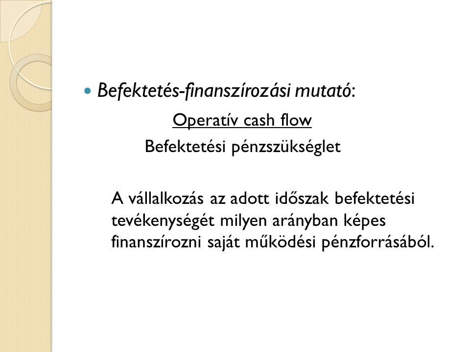  Befektetés-finanszírozási mutató: Operatív cash flow Befektetési pénzszükséglet A vállalkozás az adott időszak befektetési tevékenységét milyen arányban képes finanszírozni saját működési pénzforrásából.