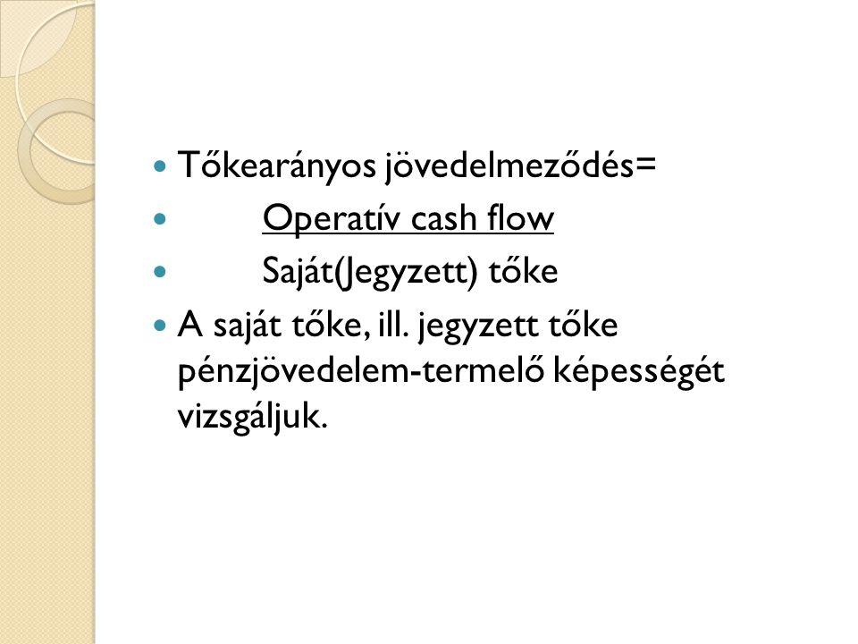  Tőkearányos jövedelmeződés=  Operatív cash flow  Saját(Jegyzett) tőke  A saját tőke, ill. jegyzett tőke pénzjövedelem-termelő képességét vizsgálj