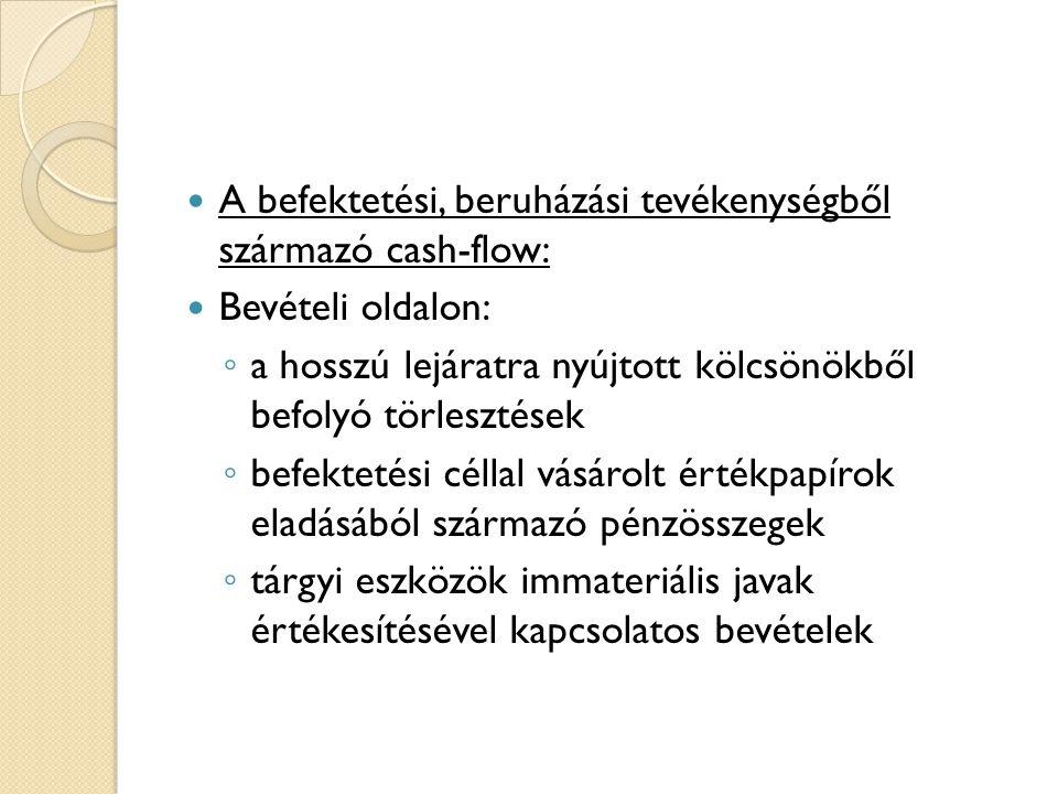 4.2. A cash flow kimutatás elemzésének célja, módszerei