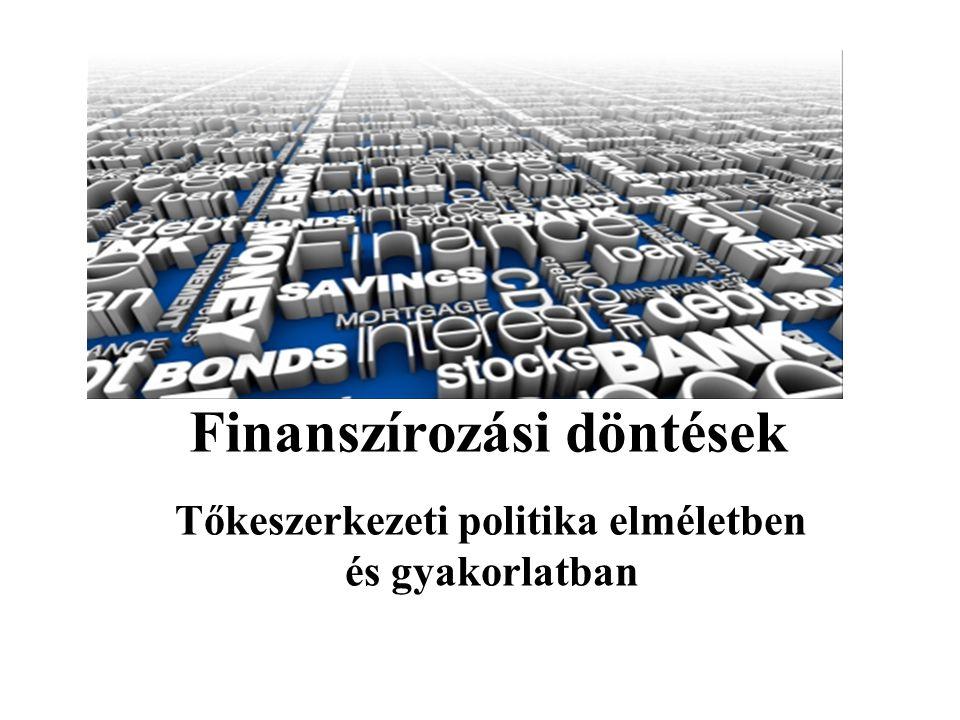Hagyományos nézőpont Létezik egy olyan idegen tőke/ saját tőke (D/E) arány, amely r A -t minimalizálja, ha:  A hitel (adósság) olcsóbb, mint a saját tőke ( r D < r E )  A cég működési jövedelme konstans (örökjáradék)