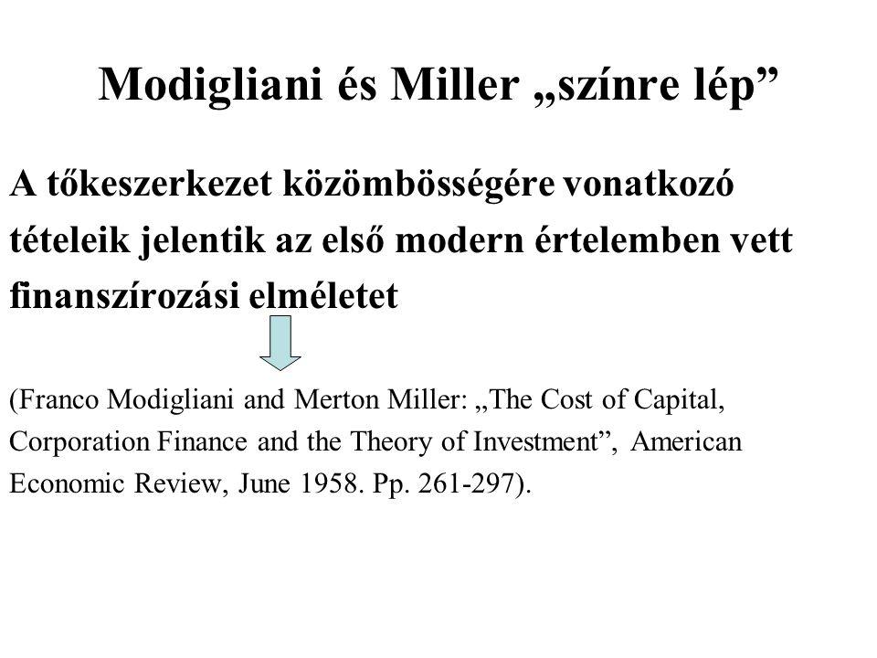 """Modigliani és Miller """"színre lép"""" A tőkeszerkezet közömbösségére vonatkozó tételeik jelentik az első modern értelemben vett finanszírozási elméletet ("""