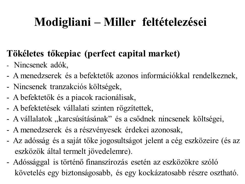 Modigliani – Miller feltételezései Tökéletes tőkepiac (perfect capital market) - Nincsenek adók, - A menedzserek és a befektetők azonos információkkal
