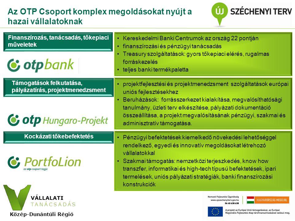 VÁLLALATI TANÁCSADÁS Közép-Dunántúli Régió Az OTP Banknál elérhető hitelprogramok Az OTP Bank elkötelezett a hazai vállalatok helyzetének erősítésében, ezáltal a gazdasági növekedés elindításában, ezért számos kormányzati programban vesz részt, illetve indít saját programokat Refinanszírozott és/vagy támogatott hitelprogramok •MFB beruházási hitelkonstrukciók: Új Magyarország (ÚM) Vállalkozásfejlesztési Hitelprogram, MFB Közösségi Közlekedésfejlesztési Hitelprogram, ÚM Kis-és Középvállalkozói Hitelprogram, Német Start hitel •EXIMBANK által refinanszírozott hitel •EIB Global Loan hitelprogram •Tajvani Exim Hitel Export-Import Bank Taiwan által biztosított forrású hitel Új eljárás az NFÜ-vel - Kombinált Hitel Garanciával: •a vállalkozások számára egyszerűbb forráshoz jutási lehetőség •egyablakos ügyfélszolgálat •A pályázatot a hitel jóváhagyását követően az OTP Bank juttatja el a Magyar Gazdaságfejlesztési Központ Zrt.- hez Saját kezdeményezés - Széchenyi 500 Vállalati Hitelprogram •100 milliárd forint keretösszeg •50–500 millió forint közötti finanszírozási lehetőség a vállalatoknak