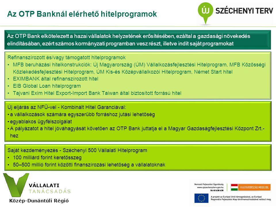VÁLLALATI TANÁCSADÁS Közép-Dunántúli Régió Vállalati Tanácsadás Program Az egyes Regionális Operatív Programok Vállalati Tanácsadás projektjei Egységes Konzorcium által továbbutalandó, M Ft Dél-Dunántúli Operatív Program420 Közép-Dunántúli Operatív Program377,6 Közép-Magyarországi Operatív Program994,0 Nyugat-Dunántúli Operatív Program586,5 Összesen2 378,5 A három dunántúli, valamint a Közép-magyarországi Régióban összesen kétmilliárd forint fölötti pályázati forrás áll a vállalkozások rendelkezésére.