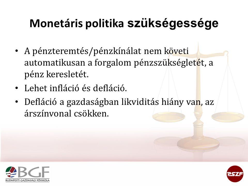 Monetáris politika szükségessége • A pénzteremtés/pénzkínálat nem követi automatikusan a forgalom pénzszükségletét, a pénz keresletét. • Lehet infláci
