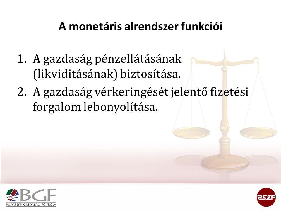 A monetáris alrendszer funkciói 1.A gazdaság pénzellátásának (likviditásának) biztosítása. 2.A gazdaság vérkeringését jelentő fizetési forgalom lebony