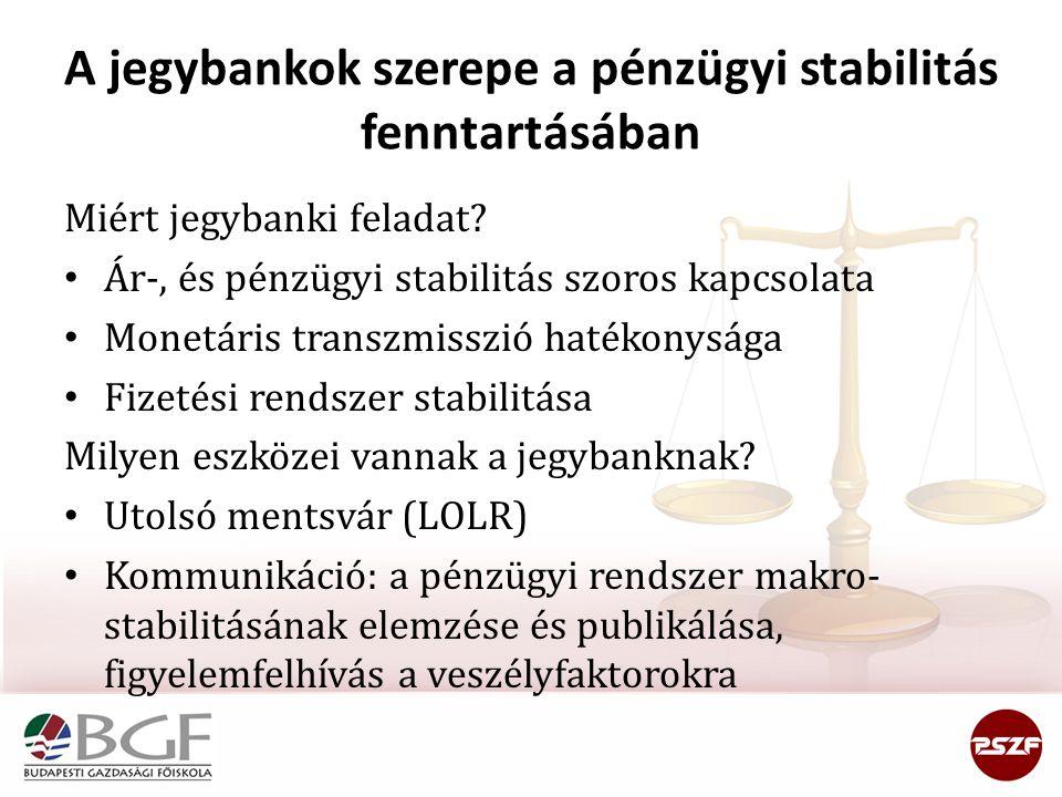 A jegybankok szerepe a pénzügyi stabilitás fenntartásában Miért jegybanki feladat? • Ár-, és pénzügyi stabilitás szoros kapcsolata • Monetáris transzm