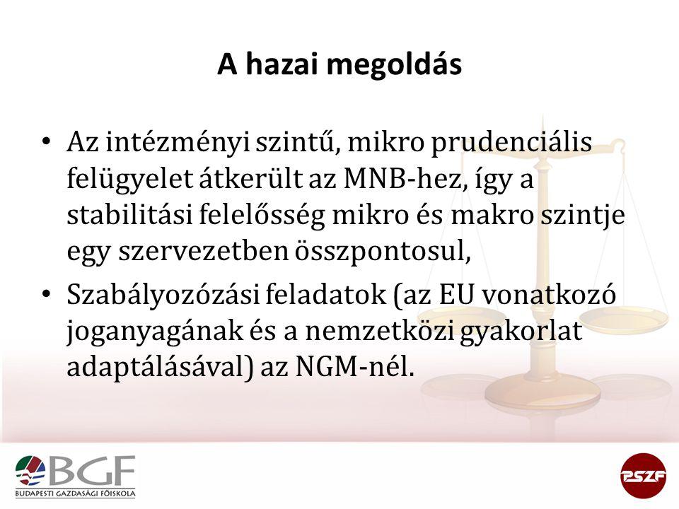 A hazai megoldás • Az intézményi szintű, mikro prudenciális felügyelet átkerült az MNB-hez, így a stabilitási felelősség mikro és makro szintje egy sz