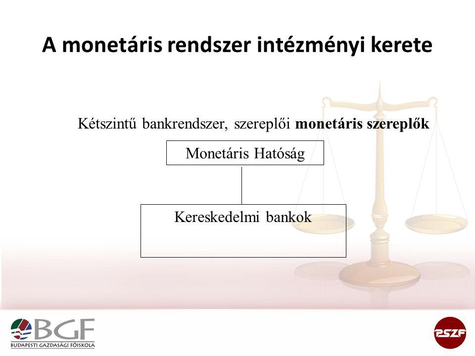 A monetáris rendszer intézményi kerete Kétszintű bankrendszer, szereplői monetáris szereplők Monetáris Hatóság Kereskedelmi bankok