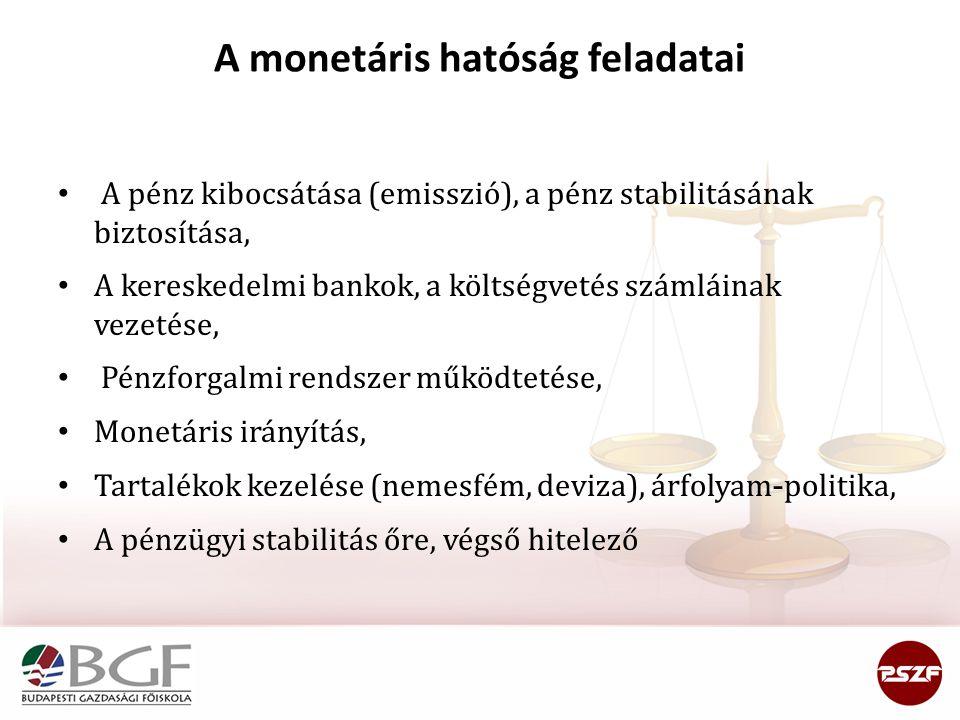 A monetáris hatóság feladatai • A pénz kibocsátása (emisszió), a pénz stabilitásának biztosítása, • A kereskedelmi bankok, a költségvetés számláinak v