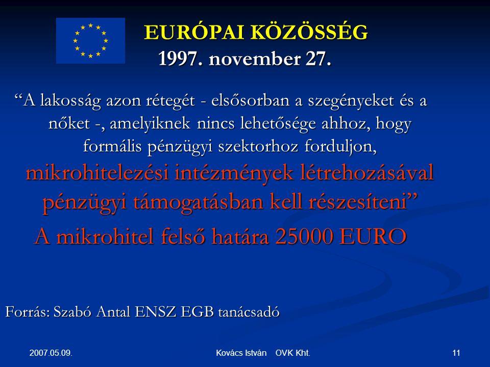 2007.05.09. 11 Kovács István OVK Kht. EURÓPAI KÖZÖSSÉG 1997.