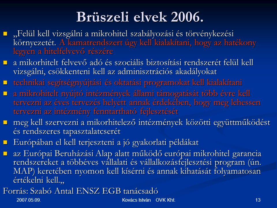 2007.05.09. 13 Kovács István OVK Kht. Brüszeli elvek 2006.