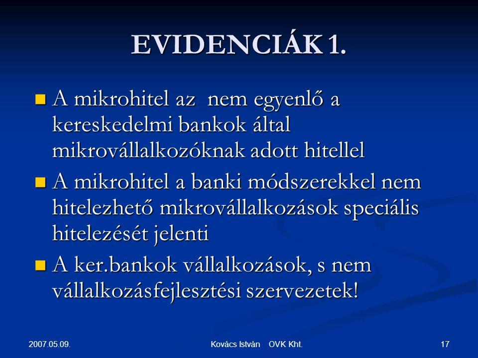 2007.05.09. 17 Kovács István OVK Kht. EVIDENCIÁK 1.