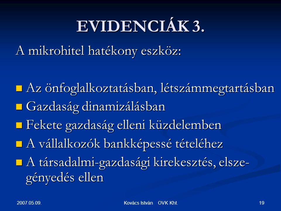 2007.05.09. 19 Kovács István OVK Kht. EVIDENCIÁK 3.