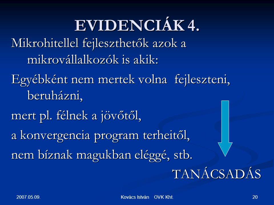 2007.05.09. 20 Kovács István OVK Kht. EVIDENCIÁK 4.
