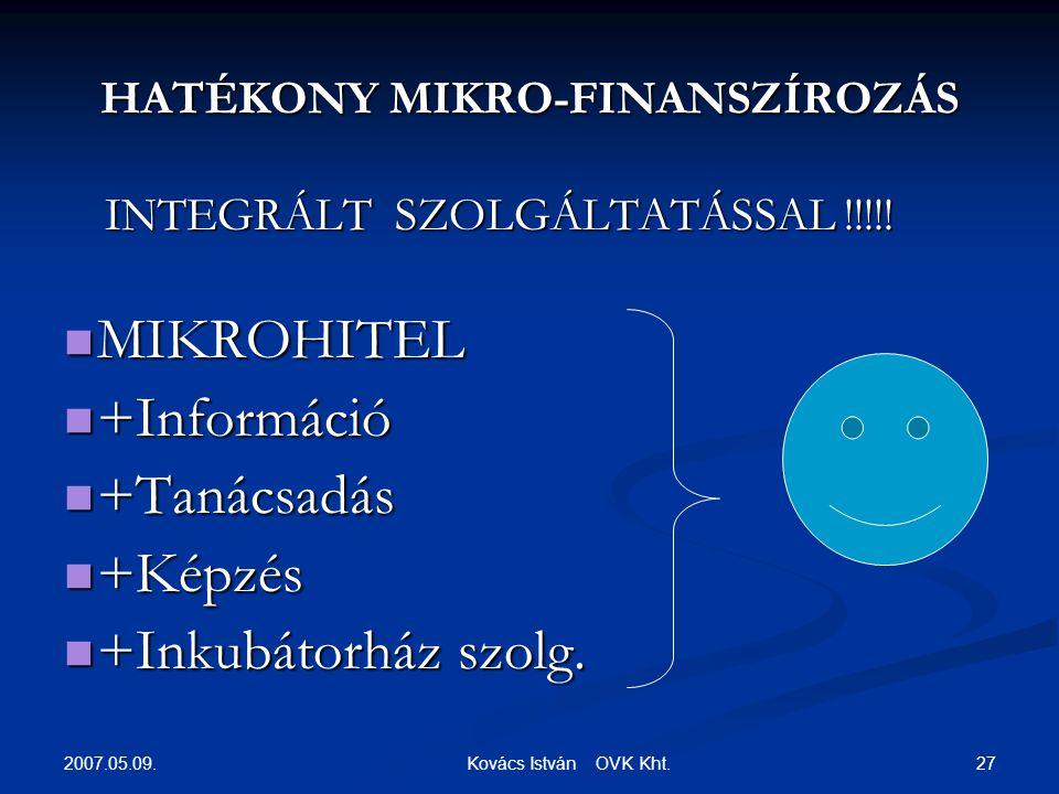 2007.05.09. 27 Kovács István OVK Kht. HATÉKONY MIKRO-FINANSZÍROZÁS INTEGRÁLT SZOLGÁLTATÁSSAL !!!!.
