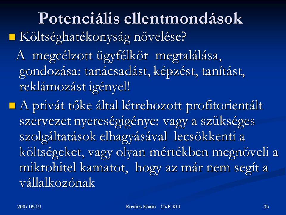 2007.05.09. 35 Kovács István OVK Kht. Potenciális ellentmondások  Költséghatékonyság növelése.