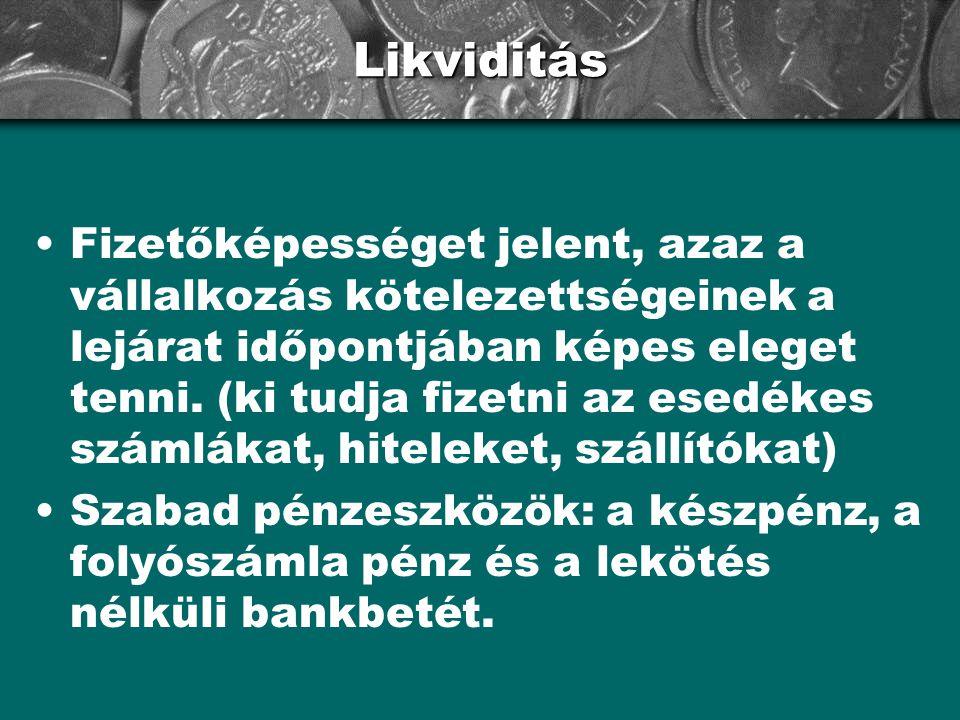 Likviditás •Fizetőképességet jelent, azaz a vállalkozás kötelezettségeinek a lejárat időpontjában képes eleget tenni. (ki tudja fizetni az esedékes sz