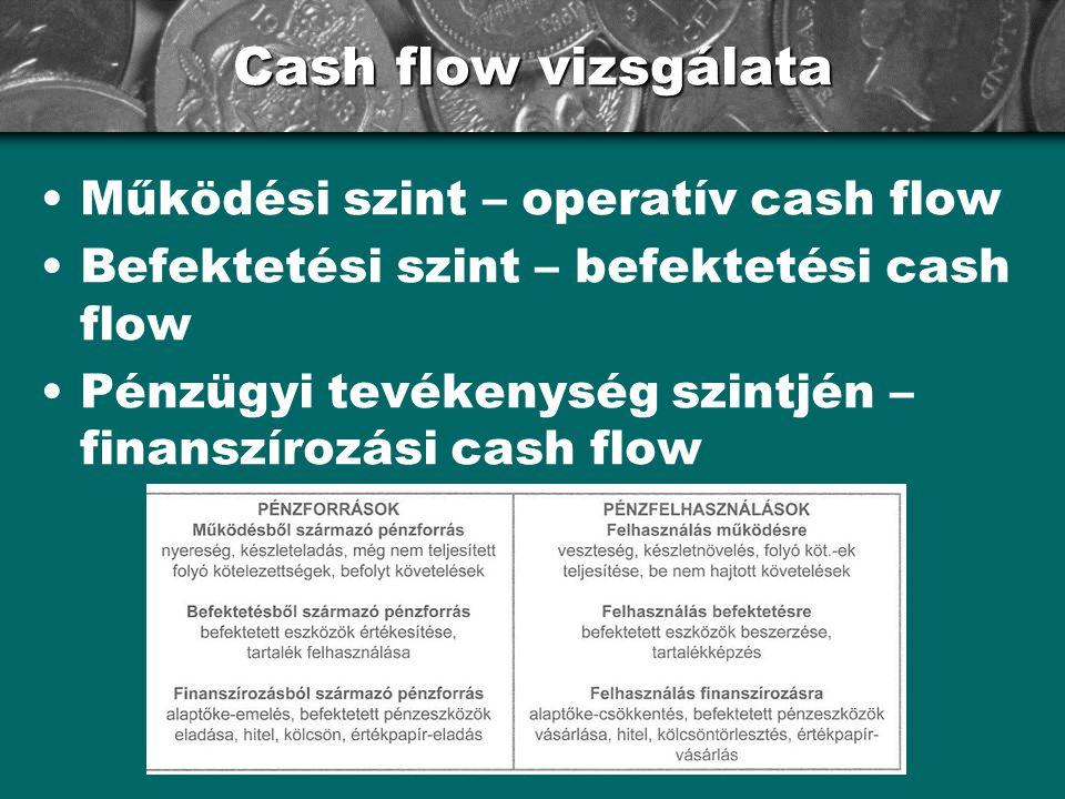 Cash flow vizsgálata •Működési szint – operatív cash flow •Befektetési szint – befektetési cash flow •Pénzügyi tevékenység szintjén – finanszírozási cash flow
