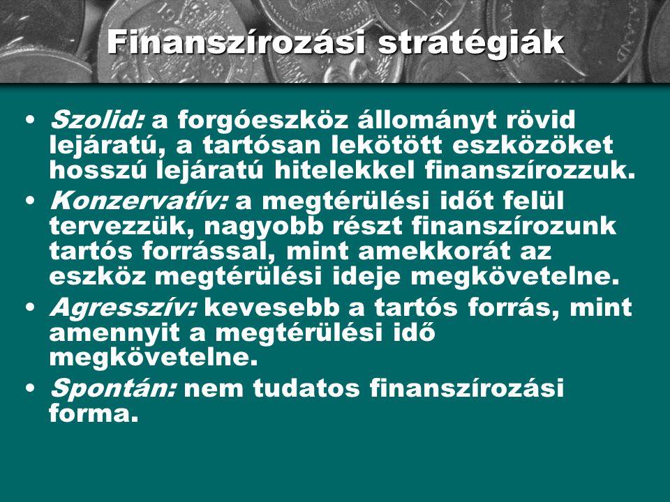 Finanszírozási stratégiák •Szolid: a forgóeszköz állományt rövid lejáratú, a tartósan lekötött eszközöket hosszú lejáratú hitelekkel finanszírozzuk. •