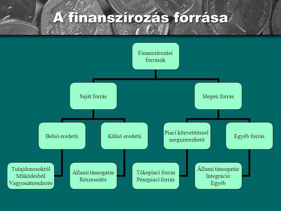 A finanszírozás forrása Finanszírozási források Saját forrás Belső eredetű Tulajdonosoktól Működésből Vagyonátrendezés Külső eredetű Állami támogatás Részesedés Idegen forrás Piaci közvetítéssel megszerezhető Tőkepiaci forrás Pénzpiaci forrás Egyéb forrás Állami támogatás Integráció Egyéb