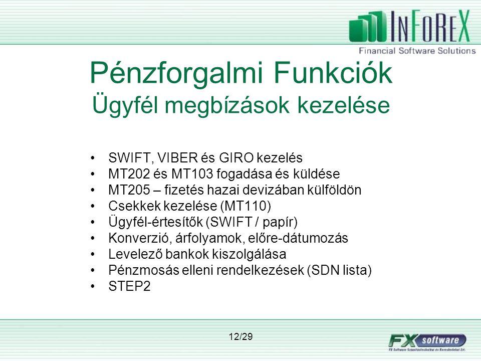 12/29 Pénzforgalmi Funkciók Ügyfél megbízások kezelése •SWIFT, VIBER és GIRO kezelés •MT202 és MT103 fogadása és küldése •MT205 – fizetés hazai devizában külföldön •Csekkek kezelése (MT110) •Ügyfél-értesítők (SWIFT / papír) •Konverzió, árfolyamok, előre-dátumozás •Levelező bankok kiszolgálása •Pénzmosás elleni rendelkezések (SDN lista) •STEP2