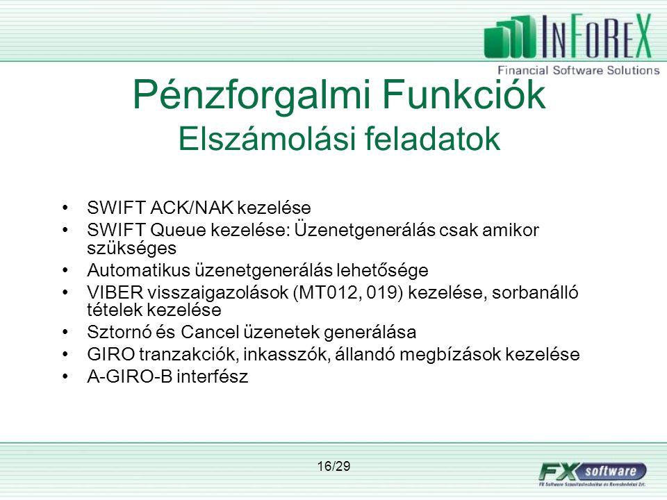 16/29 Pénzforgalmi Funkciók Elszámolási feladatok •SWIFT ACK/NAK kezelése •SWIFT Queue kezelése: Üzenetgenerálás csak amikor szükséges •Automatikus üzenetgenerálás lehetősége •VIBER visszaigazolások (MT012, 019) kezelése, sorbanálló tételek kezelése •Sztornó és Cancel üzenetek generálása •GIRO tranzakciók, inkasszók, állandó megbízások kezelése •A-GIRO-B interfész