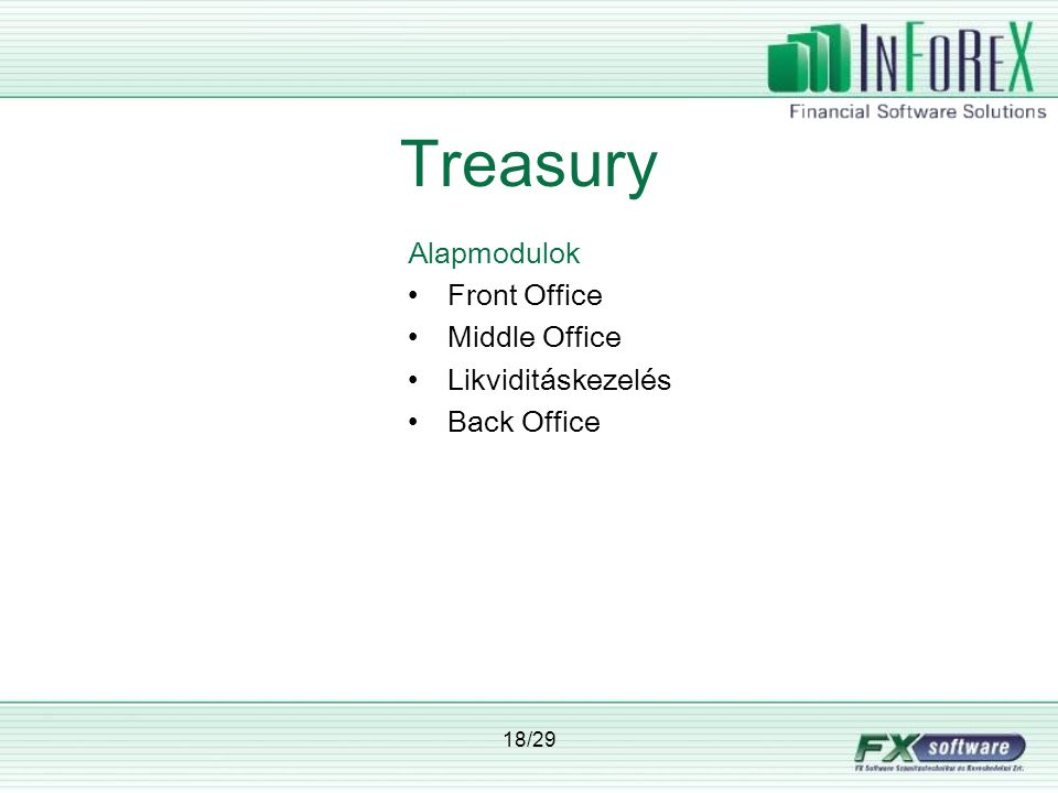 18/29 Treasury Alapmodulok •Front Office •Middle Office •Likviditáskezelés •Back Office