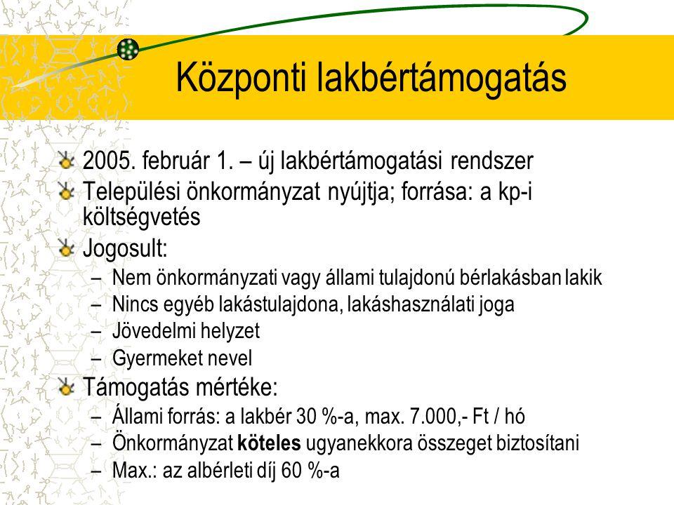 Központi lakbértámogatás 2005. február 1. – új lakbértámogatási rendszer Települési önkormányzat nyújtja; forrása: a kp-i költségvetés Jogosult: –Nem