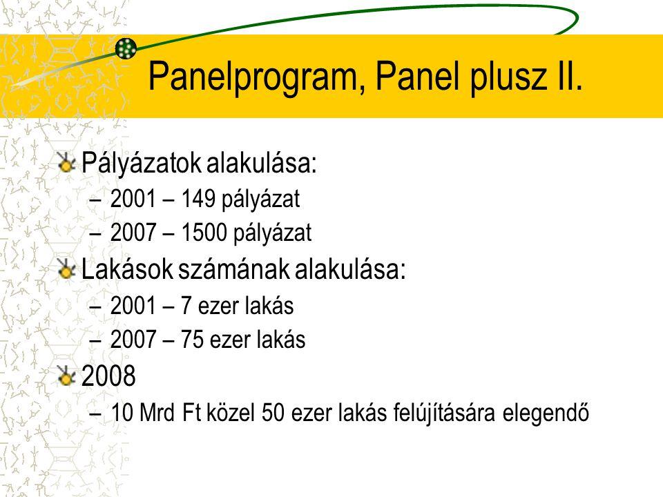 Panelprogram, Panel plusz II. Pályázatok alakulása: –2001 – 149 pályázat –2007 – 1500 pályázat Lakások számának alakulása: –2001 – 7 ezer lakás –2007