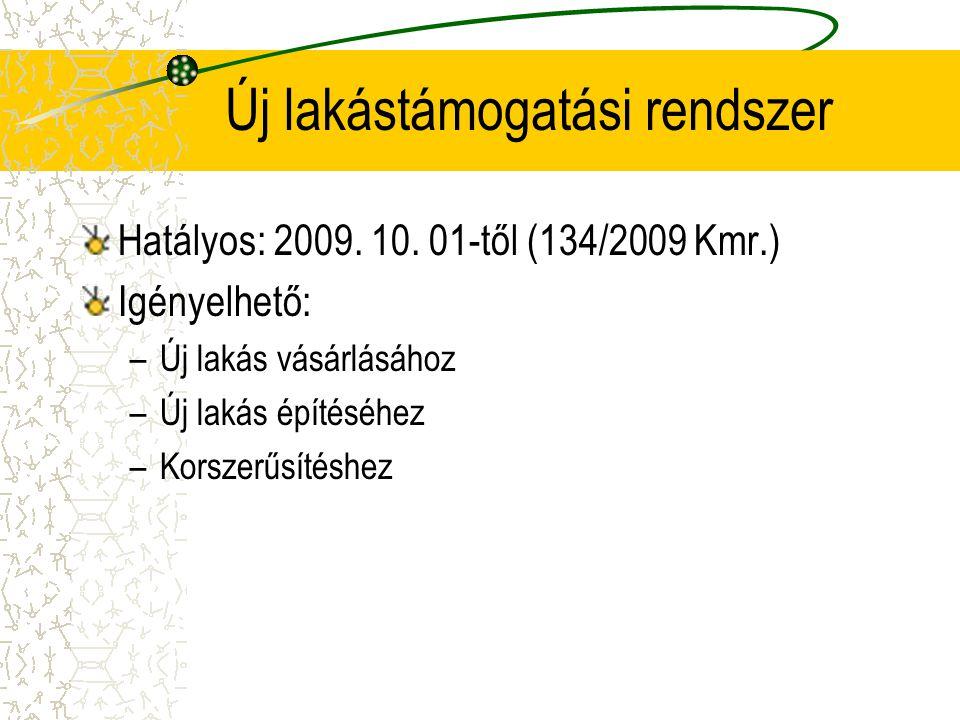 Új lakástámogatási rendszer Hatályos: 2009. 10. 01-től (134/2009 Kmr.) Igényelhető: –Új lakás vásárlásához –Új lakás építéséhez –Korszerűsítéshez