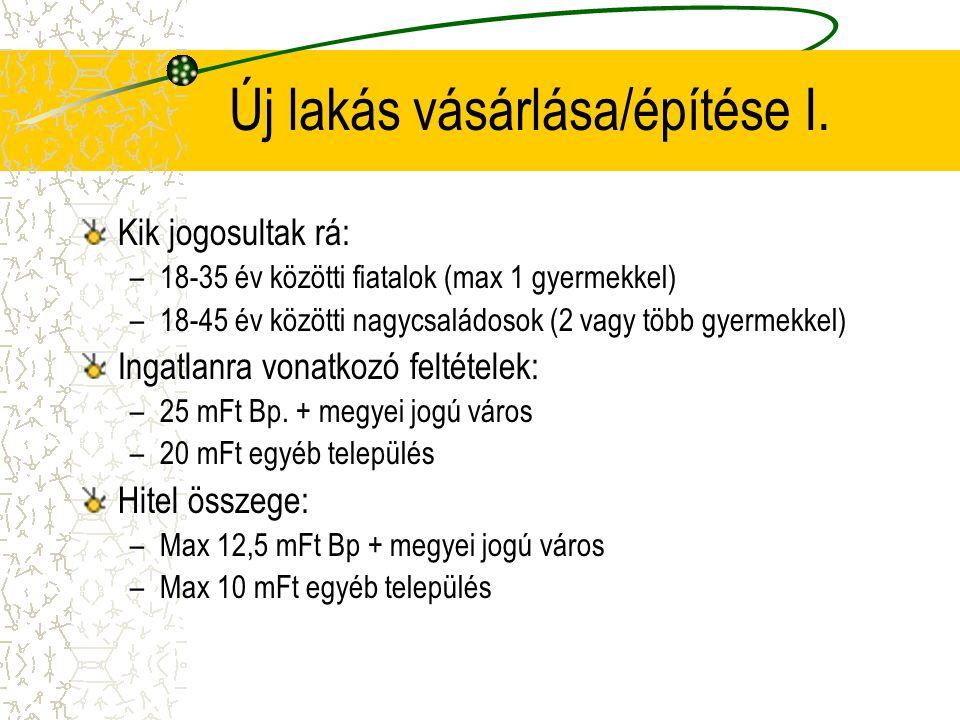 Új lakás vásárlása/építése I. Kik jogosultak rá: –18-35 év közötti fiatalok (max 1 gyermekkel) –18-45 év közötti nagycsaládosok (2 vagy több gyermekke