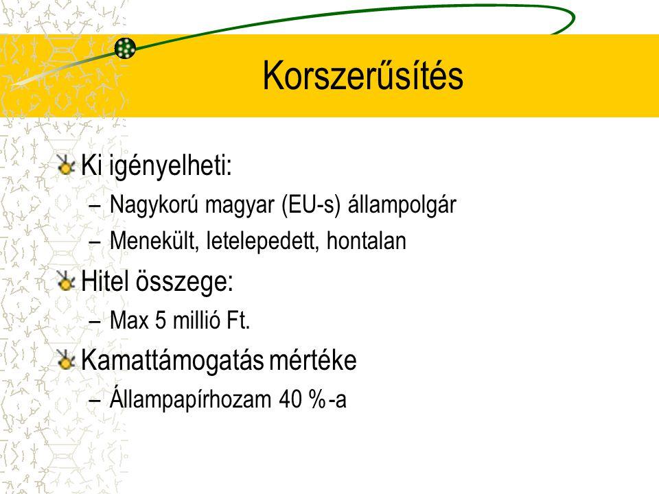 Korszerűsítés Ki igényelheti: –Nagykorú magyar (EU-s) állampolgár –Menekült, letelepedett, hontalan Hitel összege: –Max 5 millió Ft. Kamattámogatás mé