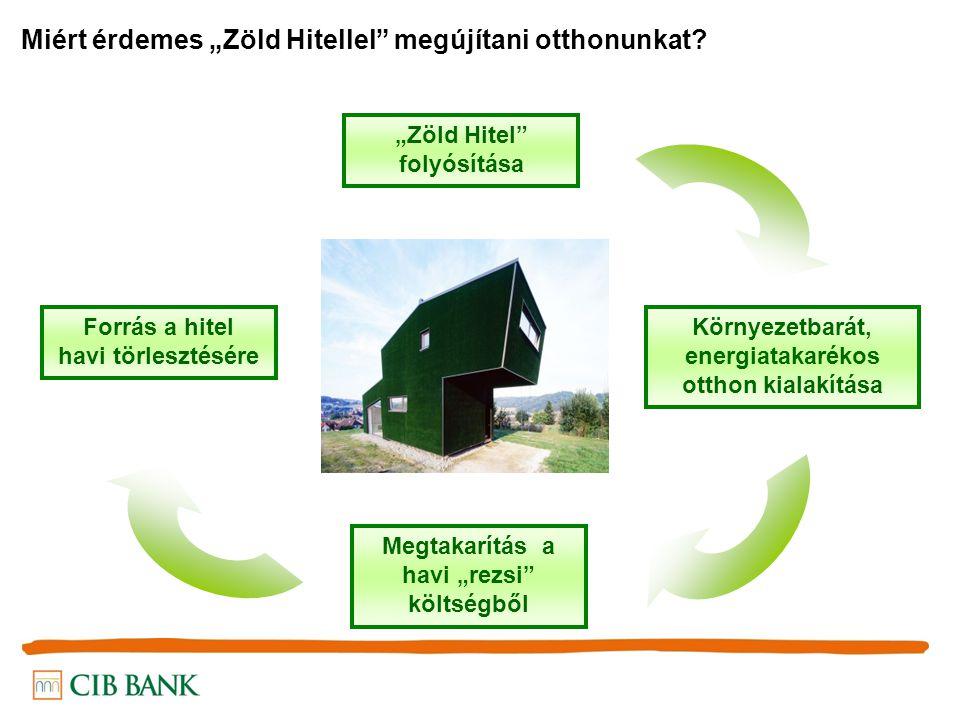 """Forrás a hitel havi törlesztésére Környezetbarát, energiatakarékos otthon kialakítása Megtakarítás a havi """"rezsi költségből """"Zöld Hitel folyósítása Miért érdemes """"Zöld Hitellel megújítani otthonunkat"""