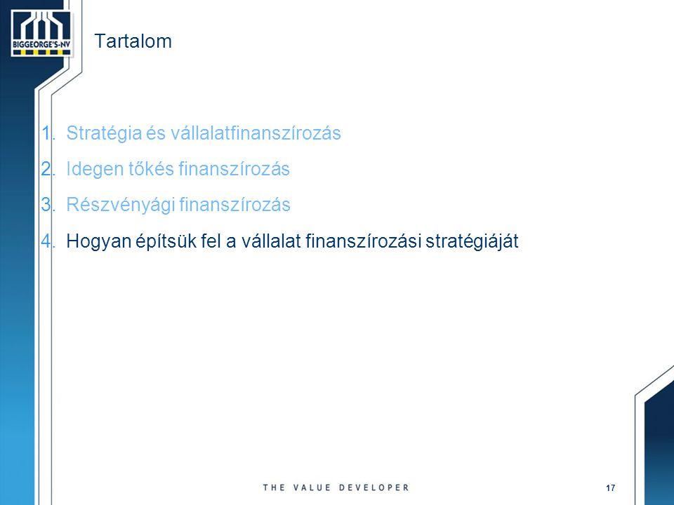 17 Tartalom 1.Stratégia és vállalatfinanszírozás 2.Idegen tőkés finanszírozás 3.Részvényági finanszírozás 4.Hogyan építsük fel a vállalat finanszírozá