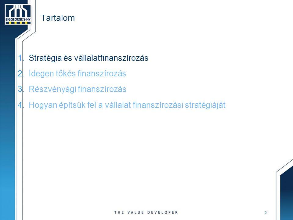 3 Tartalom 1.Stratégia és vállalatfinanszírozás 2.Idegen tőkés finanszírozás 3.Részvényági finanszírozás 4.Hogyan építsük fel a vállalat finanszírozás