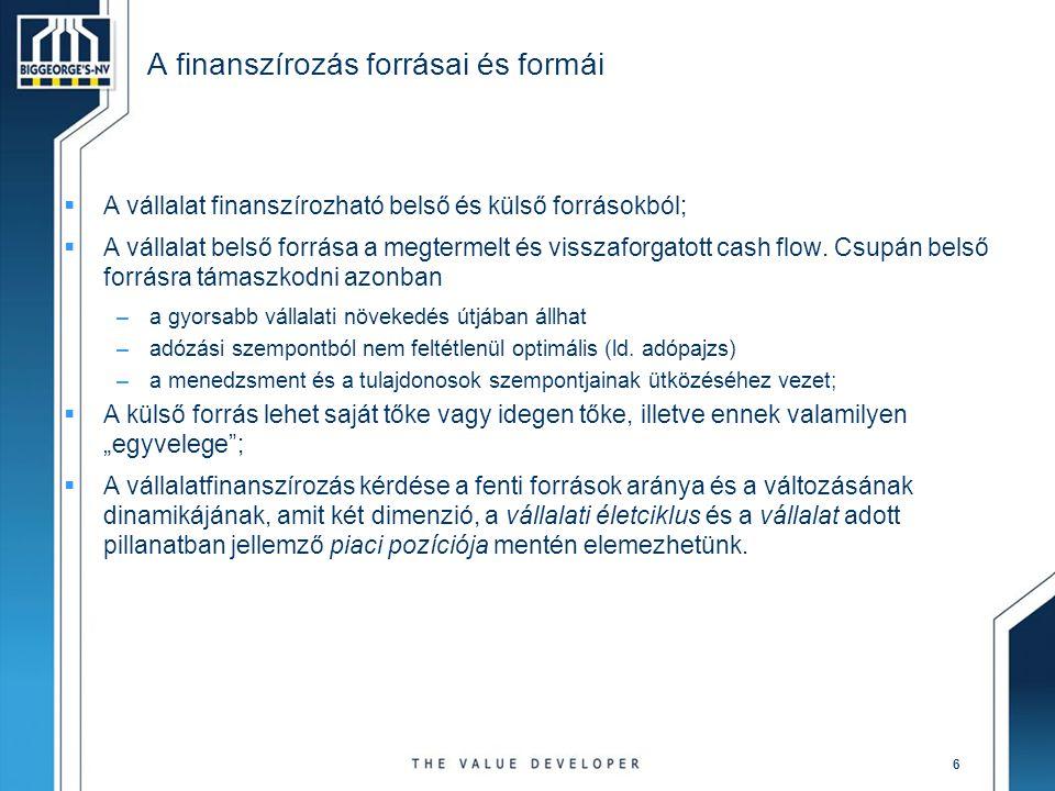 6 A finanszírozás forrásai és formái  A vállalat finanszírozható belső és külső forrásokból;  A vállalat belső forrása a megtermelt és visszaforgatott cash flow.