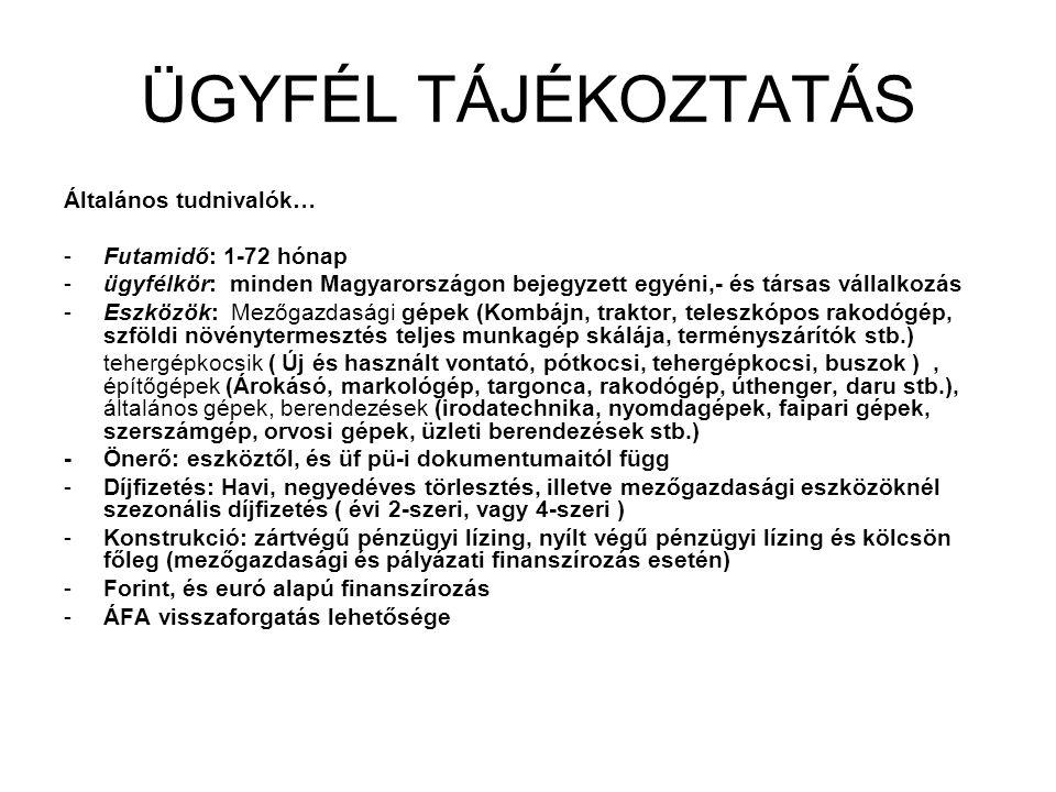 ÜGYFÉL TÁJÉKOZTATÁS Általános tudnivalók… -Futamidő: 1-72 hónap -ügyfélkör: minden Magyarországon bejegyzett egyéni,- és társas vállalkozás -Eszközök: