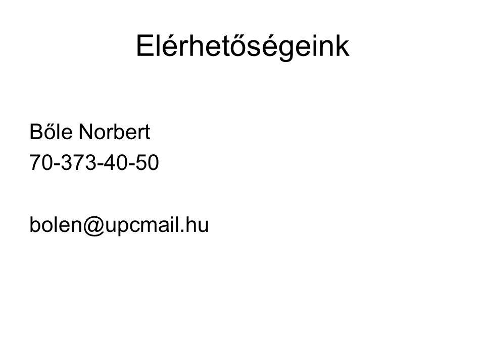 Elérhetőségeink Bőle Norbert 70-373-40-50 bolen@upcmail.hu