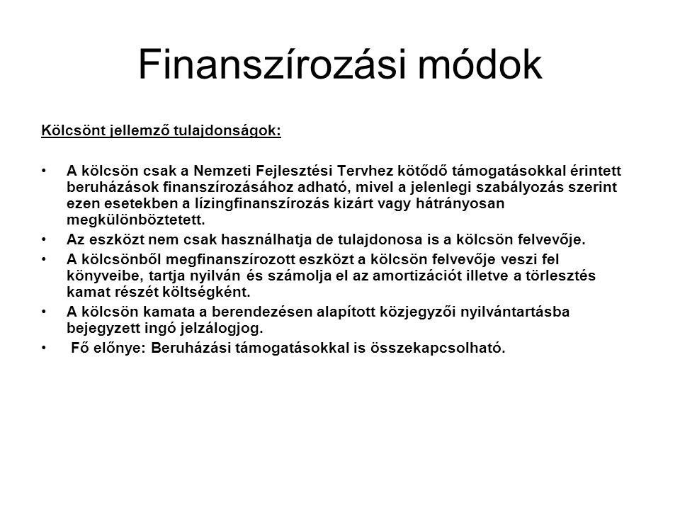 Finanszírozási módok Kölcsönt jellemző tulajdonságok: •A kölcsön csak a Nemzeti Fejlesztési Tervhez kötődő támogatásokkal érintett beruházások finansz