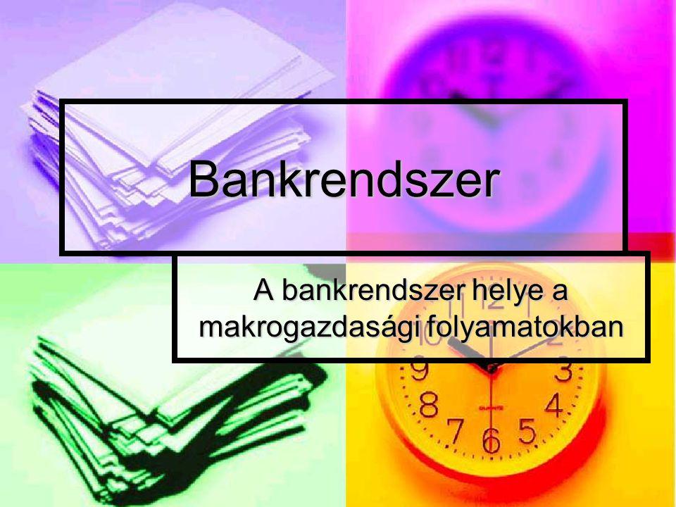 Bankrendszer A bankrendszer helye a makrogazdasági folyamatokban