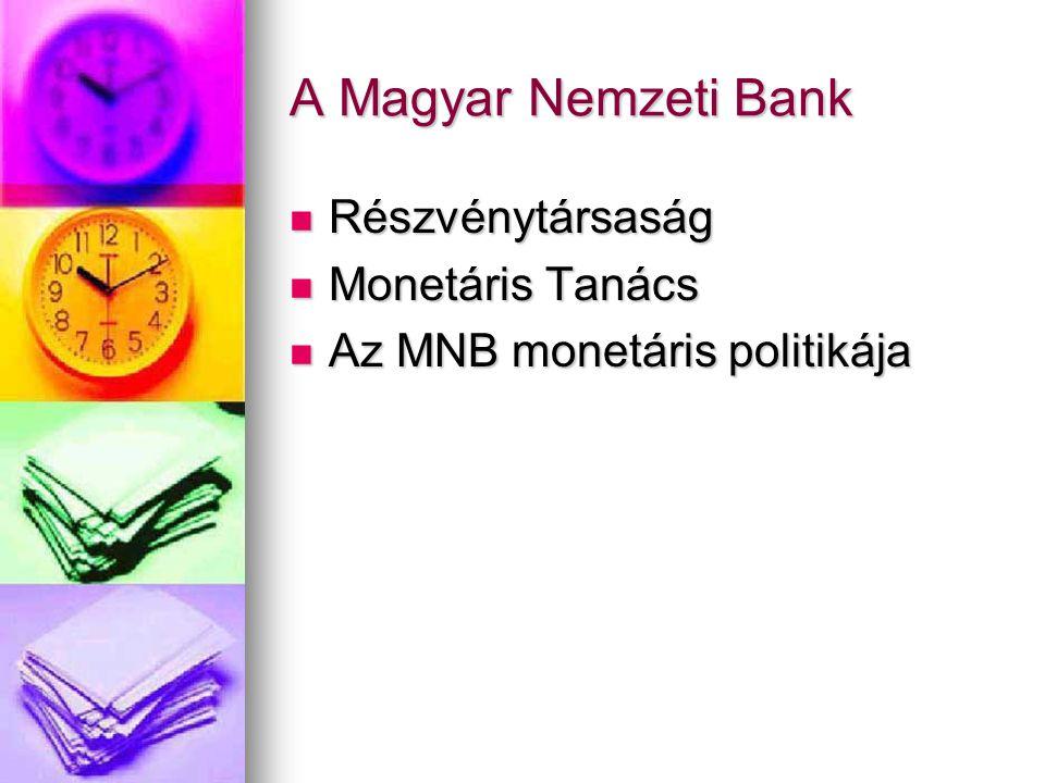 A Magyar Nemzeti Bank  Részvénytársaság  Monetáris Tanács  Az MNB monetáris politikája